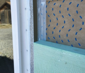 ThermalBuck installed with Drainable WRB and Rigid Foam - close-up