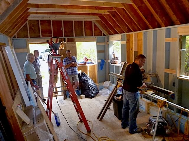 Local architects, builders & craftsman watch the ThermalBuck installation in Manchester Center, VT.